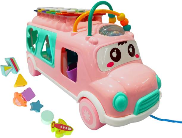 Miss & Chief Happy Xylophone Pull Along Bus with Shape Sorter and Blocks for Kids