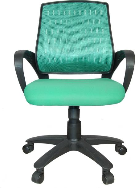 Rajpura Smart Medium Back Revolving Chair with Centre Tilt mechanism in Green Fabric and Green mesh/net back Fabric Office Executive Chair