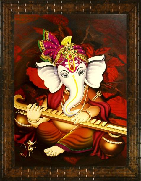 Indianara LORD GANESHA (2175) WITHOUT GLASS Digital Reprint 13 inch x 10.6 inch Painting