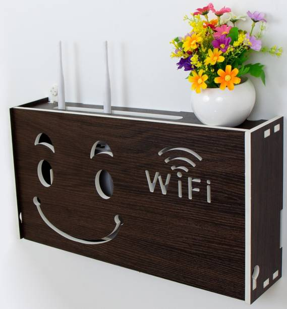 WORA WiFi Happy Smiley Wireless Router Storage Box Multimedia Wire Organizer Particle Board Wall Shelf