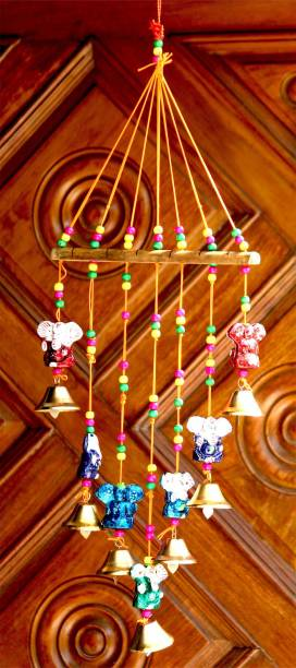 Craft Junction Handcrafted Rajasthani Bells Ganesha Design Wall Hanging Decorative Showpiece  -  45 cm