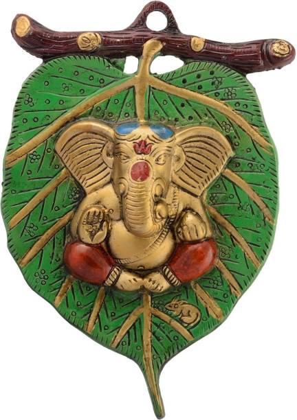 eCraftIndia Lord Ganesha In Red Dhoti On Green Leaf Wall Hanging Decorative Showpiece  -  22 cm