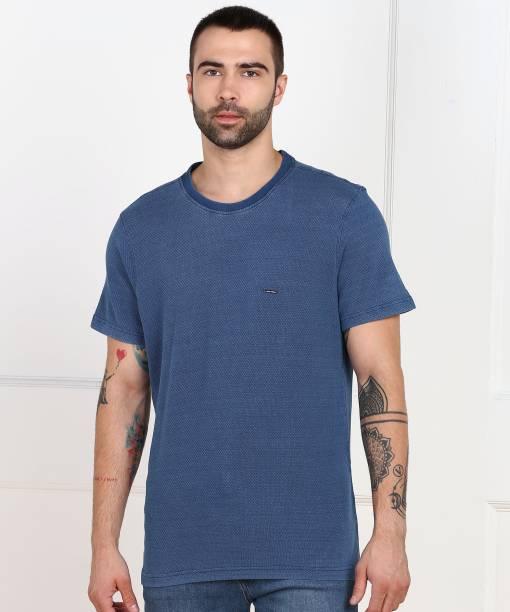 PARK AVENUE Self Design Men Round Neck Blue T-Shirt
