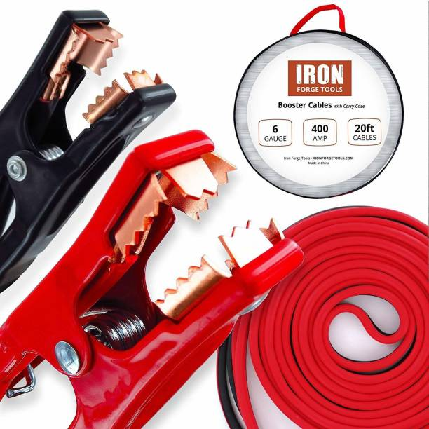RHONNIUM ™ Iron Forge Tools 20 Foot Jumper Cables with Carry Bag - 6 Gauge, 400 AMP Booster Cable Kit 6 ft Battery Jumper Cable
