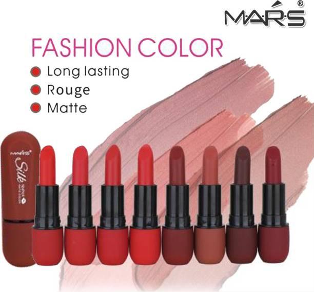 M.A.R.S Silk Moistening Lipstick 24 hour Lasting MK9019 Pack of 8 With Adbeni Kajal
