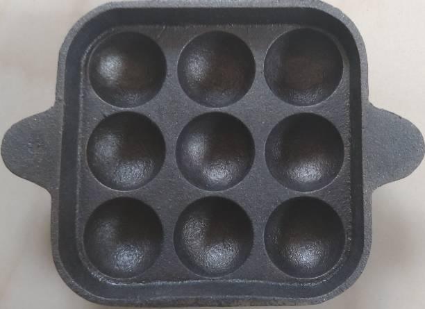Bharath Agencies Premium Quality Cast iron Appam Patra - 9 Cavity Paniarakkal