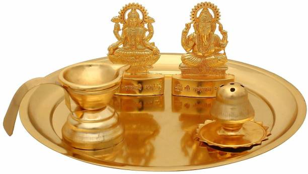JaipurCrafts Designer Pooja Thali With Laxmi And Ganesha Idol Steel