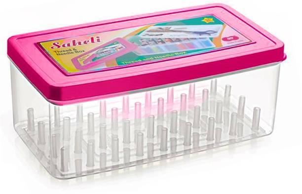 Toto Saheli Thread and Needle box - Big Size 36 spools Empty Thread Box/ Tailor Box - Pink