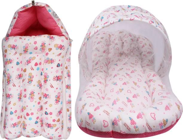 LITTE HUG Cotton Infants Cotton Mattress with Mosquito Net Sleeping Bag Combo Mosquito Net