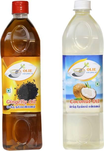 Olie Chekku cold pressed Gingelly oil 1lit \ Coconut oil 1lit combo Sesame Oil Plastic Bottle