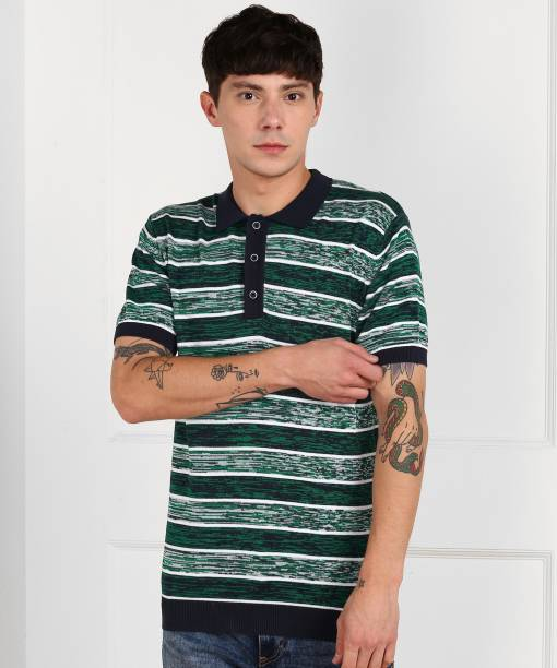 United Colors of Benetton Striped Men Polo Neck Green, Blue T-Shirt