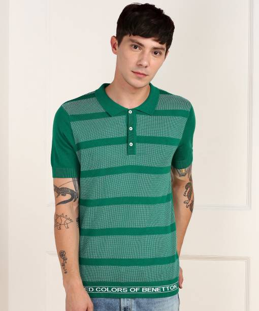 United Colors of Benetton Striped Men Polo Neck Green T-Shirt