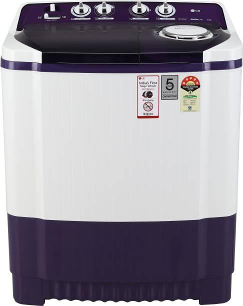 LG 8 kg 5 star Semi Automatic Top Load Purple, White