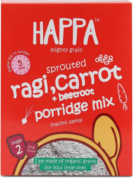 Happa Organic Sprouted Ragi, Carrot+Beetroot porridge mix cereal, baby food Cereal