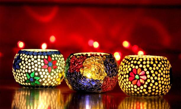 Craft Junction Handmade Mosaic Tealight Set of 3 Glass 3 - Cup Tealight Holder Set