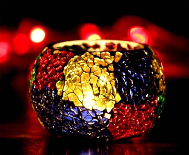 Craft Junction Handmade Mosaic Tealight Glass 1 - Cup Tealight Holder Set