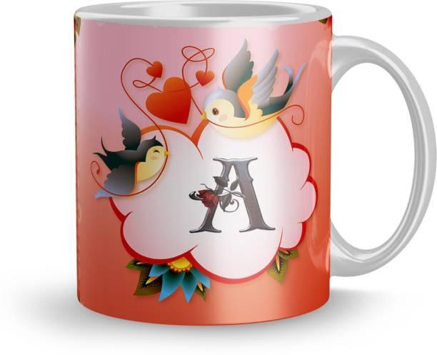 Earnam Letter A alphabet Gift for sister birthday mug 320ml multicolor (Mug3393) Ceramic Coffee Mug