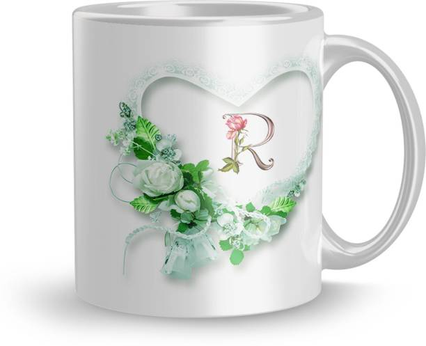 Earnam Letter R alphabet Gift for girlfriend mug 320ml multicolor (Mug3527) Ceramic Coffee Mug