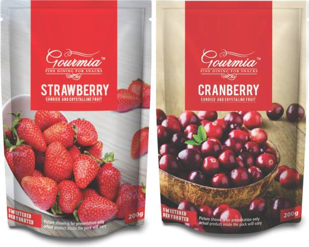 Gourmia Dried Strawberries +Dried Cranberries 200g (Pack of 2)