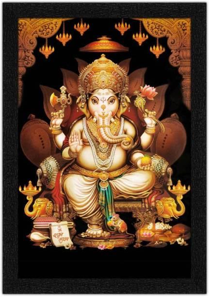 Art Amori Beautiful Ganapati maharaj Painting with Synthetic Frame Digital Reprint 20 inch x 14 inch Painting