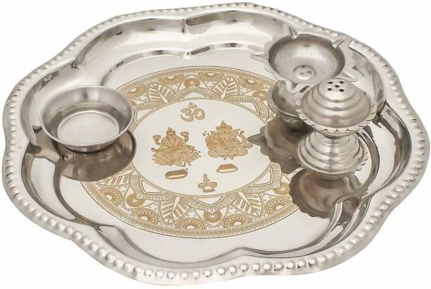 JaipurCrafts Designer Pooja Thali For Diwali Poojan/ Pooja/Rakhi Gifting Silver Plated