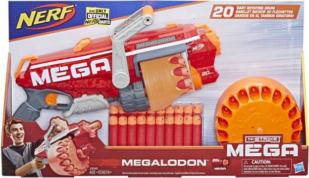 Nerf Megalodon N-Strike Mega Toy Blaster with 20 Official Mega Whistler Darts Guns & Darts