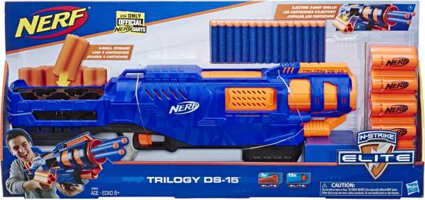 Nerf Trilogy DS-15 N-Strike Elite Toy Blaster with 15 Official Elite Darts and 5 Shells For Kids, Teens, Adults Guns & Darts