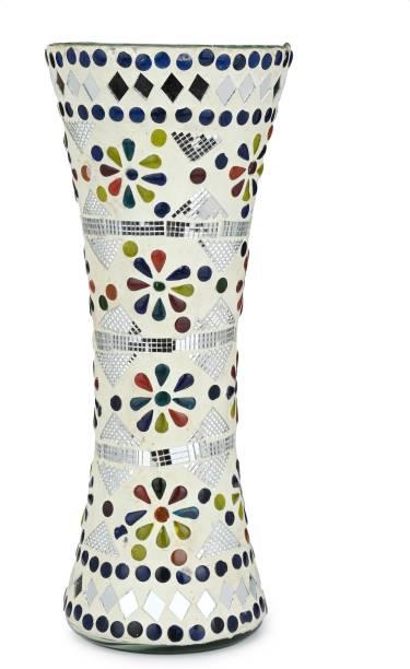 Flipkart Perfect Homes Colorful Design Flower Vase, Glass, Multicolor, White, 12 Inch Glass Vase