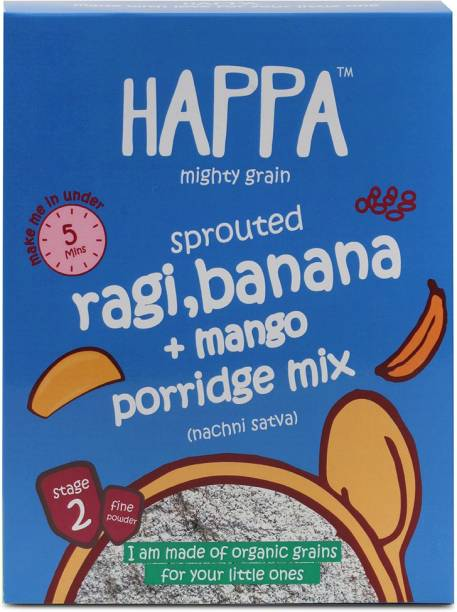 Happa Organic Sprouted Ragi, Mango+Banana porridge mix cereal, baby food Cereal