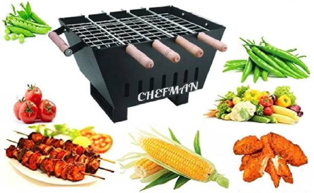 Chefman Barbeque Grill Charcoal Barbeque Grill & Tandoor with 4 Skewers with Wooden Handle, Black, Charcoal Grill (Black) Charcoal Grill