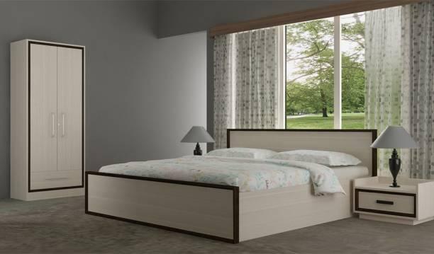 Akshni Engineered Wood Bed + Side Table + Wardrobe