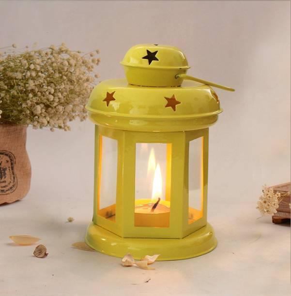 eCraftIndia Lantern Decoration with Tealight Candle (Yellow) Aluminium Candle Holder
