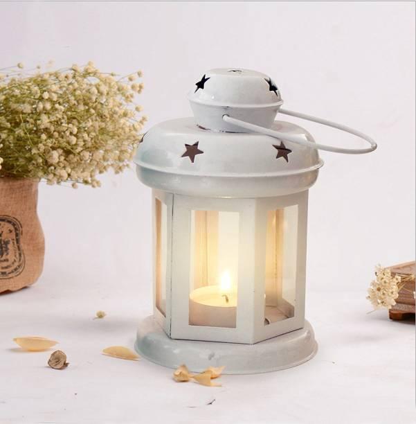 eCraftIndia Lantern Decoration with Tealight Candle (White) Aluminium Tealight Holder
