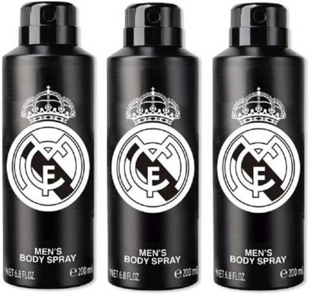 Real Madrid Original Black Combo Pack Of 3 Deodorant Spray - For Men Deodorant Spray  -  For Men