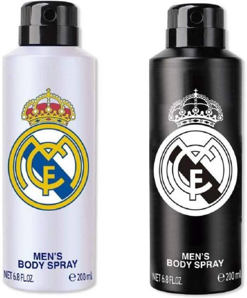 Real Madrid Black & White Deodorant Combo Pack Of 2 Deodorant Spray Deodorant Spray  -  For Men