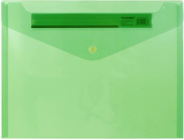 TRANBO Plastic A4 Clear Document Bag Transparent Envelope File Folder with Snap Button, Pack of 1, Green