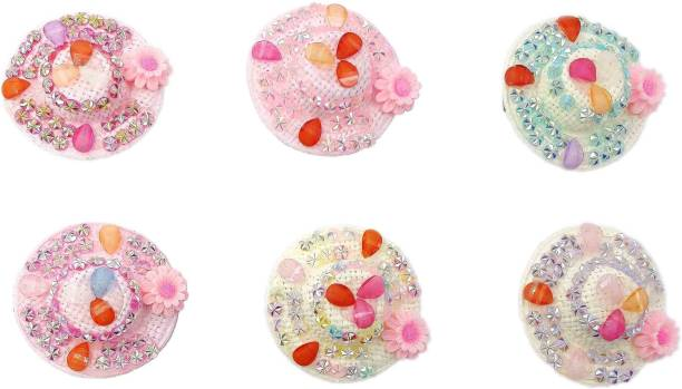 One Personal Care Flower & Diamond Studded Cute Mini Hat Barrettes For Babies Hair Accessory Set