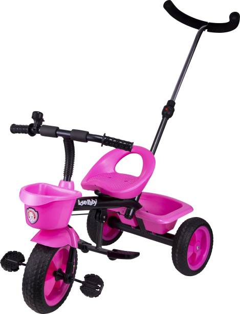 Kayoksh BABY TRICYCLE FOR KIDS WITH FRONT OR BACK BASKET AND PARENT HANDLE PINK COLOR KIDS TRICYCLE RECOMMENDED TRICYCLE FOR BABY GIRL OR TRICYCLE FOR BABY BOY OR TRICYCLE FOR TODDLER GIRL OR TRICYCLE FOR TODDLER BOY RECOMMENDED FOR TODDLER 1,2,3,4,5 YEAR CHILDREN TRICYCLE FOR KIDS KYHNDLKARALA525PINK Tricycle