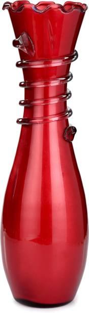 Flipkart Perfect Homes Colorful Flower Vase, Glass, Red, 12 Inch Glass Vase