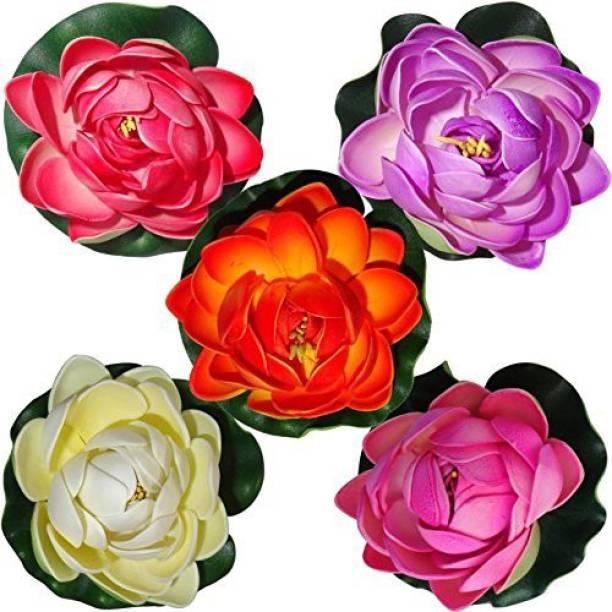 TIED RIBBONS Floating Lotus Medium Multicolor Lotus Artificial Flower Multicolor Lotus Artificial Flower