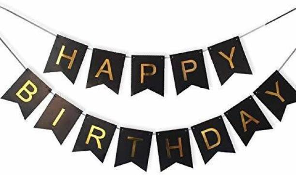 PartyballoonsHK Happy Birthday Banner Bunting Flag for Birthday Party Decoration (Black) Banner