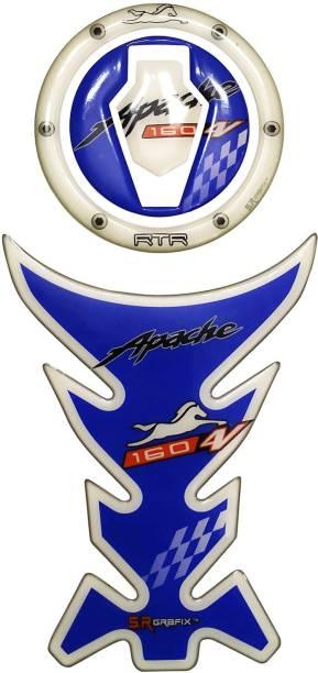S.R Grafix Apache 160 V4 Blue Bike Tank Pad