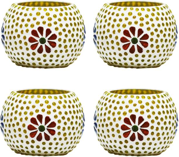 Craft Junction Set of 4 Handcrafted Mosaic Glass 4 - Cup Tealight Holder Set