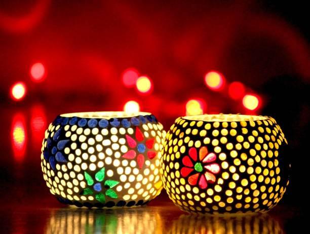 Craft Junction Handmade Mosaic Set of 2 Glass 2 - Cup Tealight Holder Set