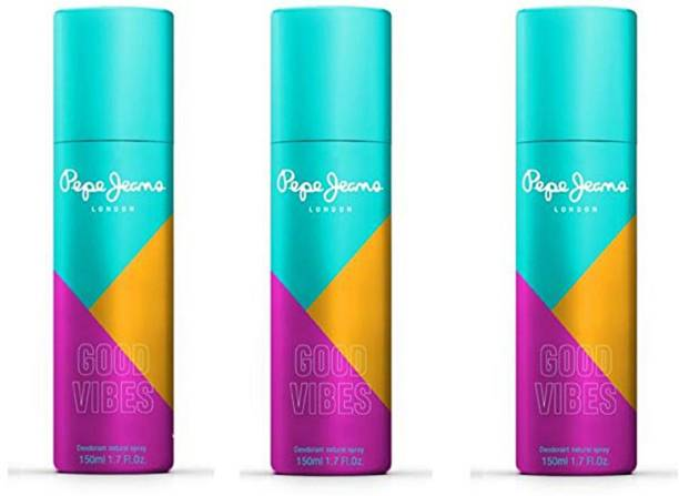 Pepe Jeans London Good Vibes (Green) For Her-Pack Of 3 Deodorant Spray  -  For Women