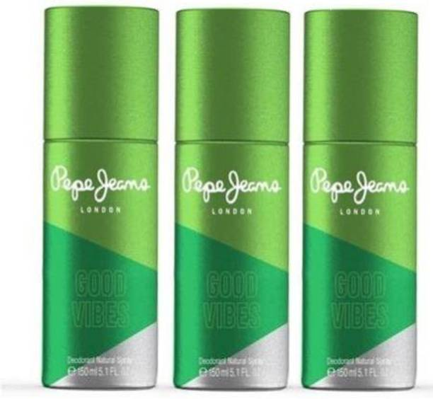 Pepe Jeans London Good Vibes (GreeN) For His-Pack Of 3 Deodorant Spray  -  For Men
