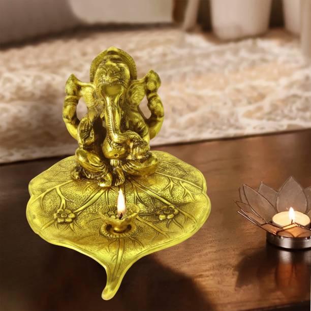 DreamKraft Metal Leaf Ganesh with Diya For Home Décor, Gift and Puja Idol Aluminium Table Diya