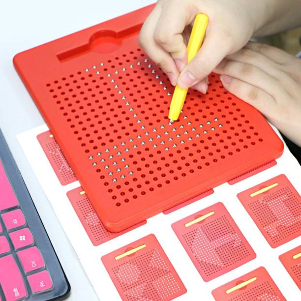 Skylofts Red Magnetic Drawing Board Magnetic Pads - Erasable Magna Doodle Writing Drawing Pad for Kids - Includes a Pen & 10 Pattern Cards (380 Magnets)