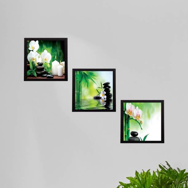eCraftIndia Set Of 3 White Flora and Stones Satin Matt Textured UV Canvas 10 inch x 30 inch Painting