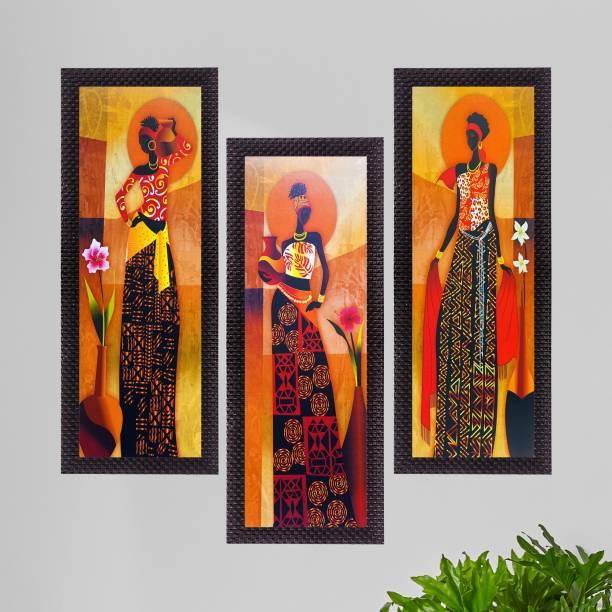 eCraftIndia Set Of 3 Tribal Village Ladies Satin Matt Textured Canvas 16 inch x 21 inch Painting
